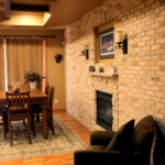 Brick Wall with 2-way Fireplace (Newton Le Stone)